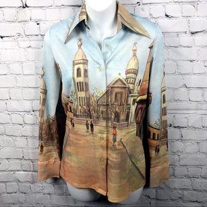 Vintage Woman's City Scene Art Button Down Shirt